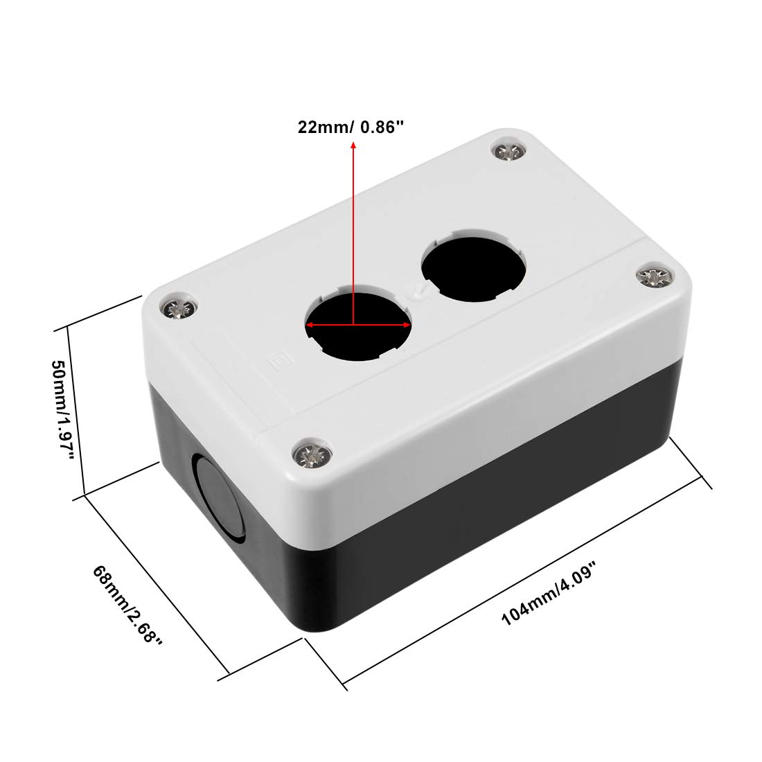 uxcell Push Button Switch Control Station Box 22mm 1 Button Hole Waterproof Black and White