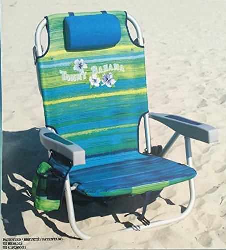 Tommy Bahama 2016 Backpack Cooler Chair with Storage Pouch and Towel Bar ( Green/Blue Stripe)