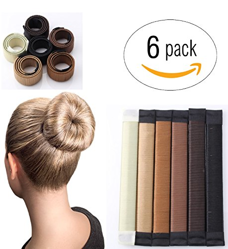 LittleCreationsByVic Magic French Twist Hair Bun Maker Hair Bun Shapers Donut Hair Styling Making DIY Curler Roller Hairstyle Tools, French Twist Doughnuts Hair Accessories - 6 Pack by LittleCreationsByVic