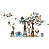 Bosque de monos de animal de la selva, la ardilla y el juego de columpio búho en hojas de colores Tree Vinilos decorativos etiqueta de la pared (L201)