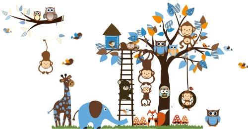 Rainbow Fox Kids Wall Decal, Jungle Zoo Theme Colorful Owl Monkey Tree Decorative Nursery Wall Sticker for Children Bedroom Nursery Playroom Wall Mural (Blue) (Colorful The Squirrel Owl Monkeys)