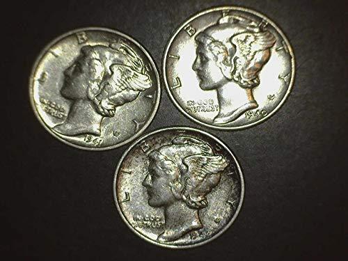 1940 1941 1942 Mercury Dimes - Set of 3 Coins - 10c AU/BU US Mint