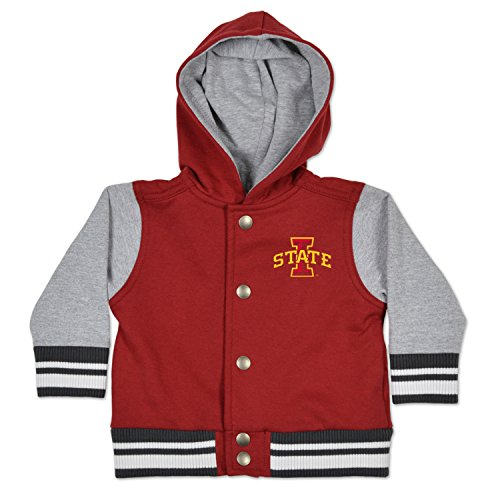 Long Sleeve Oxford Snap - NCAA Iowa State Cyclones Children Unisex Infant Letterman Jacket, 6 Months, Cardinal/Oxford
