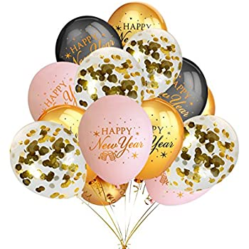 Amazon.com: Happy New Year Latex Balloons 15 count: Toys ...