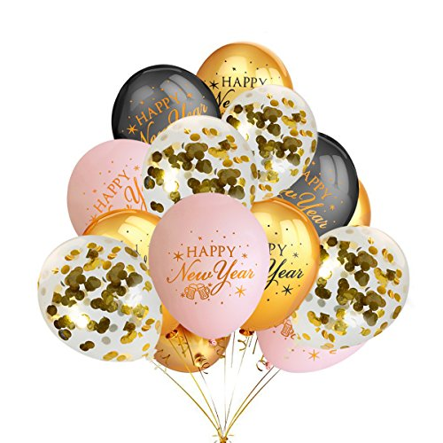 New Year Latex Balloon - Happy New Year Balloons Decorations,12 Pack 12 Inches Gold Confetti Balloons,30 Pack Gold & Light Pink & Black Printed Happy New Years Party Balloons Supplies
