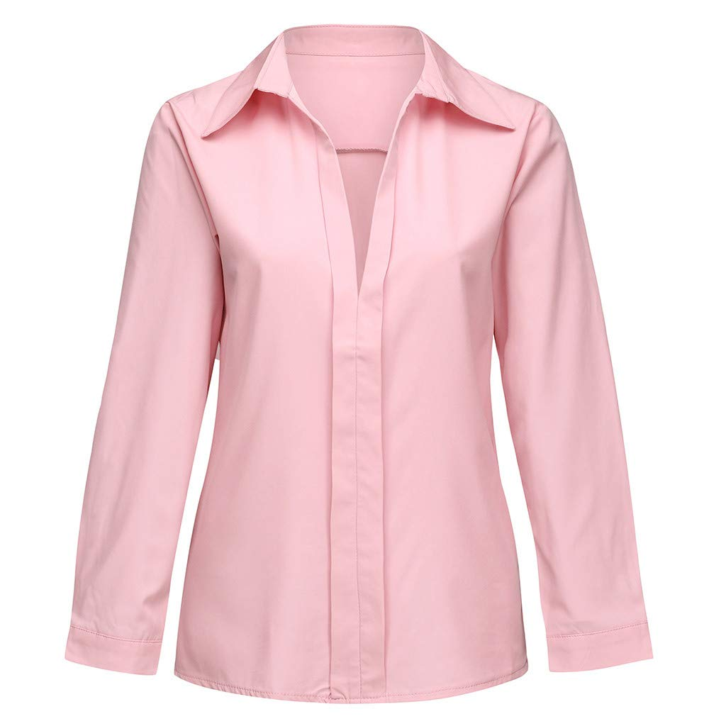 LYN Star Womens Casual Long Sleeve V Neck Pure Color Summer Shirts Top Blouse Tunic Pink