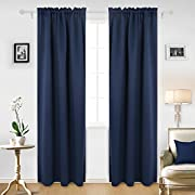 Deconovo Solid Room Darkening Curtains Rod Pocket Thermal Insulated Blackout Curtain for Bedroom 42W x 95L Inch Navy Blue 2 Panels