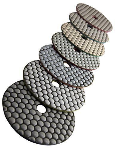 rade 5 Inch Diamond Dry Polishing Pads for Sanding Marble Granite Stone Pack of 7 Grit 50-3000 ()