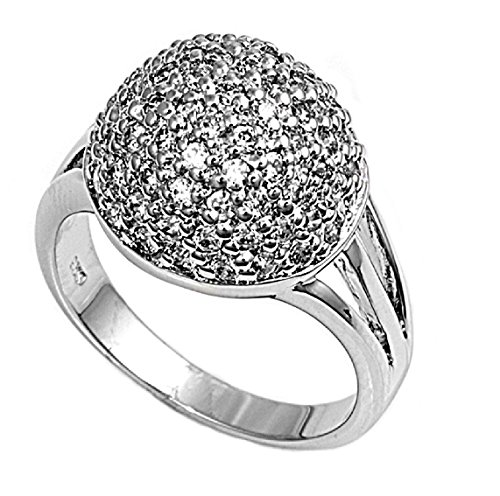 CloseoutWarehouse Cubic Zirconia Pave Sphere Micro Ring Sterling Silver Size 9 - Pave Sphere