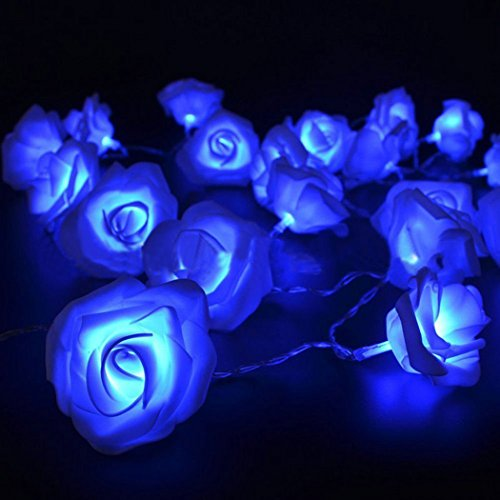 Rose Flower Fairy String Light 20 LED Battery Operated Night Light Christmas Garden Party Decor - Blue Garden Room