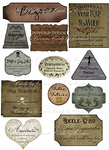 Harry Potter Halloween 12 potion assorted label stickers scrapbooking crafts collectible party decor
