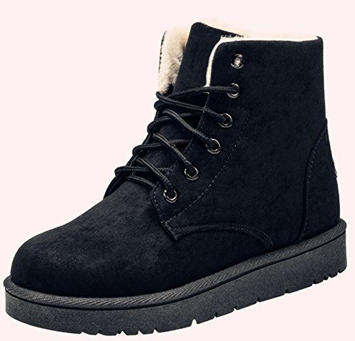 NOT100 Womens Snow Boots For Winter Ankle Boots Combat Walking Shoes Booties Black Vegan Size (Ultra Wide Calf Boot)