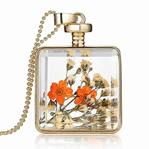 Amazon real flower necklace dried flower pendant pressed real flower necklace dried flower pendant pressed flower necklace nature jewelry mozeypictures Choice Image