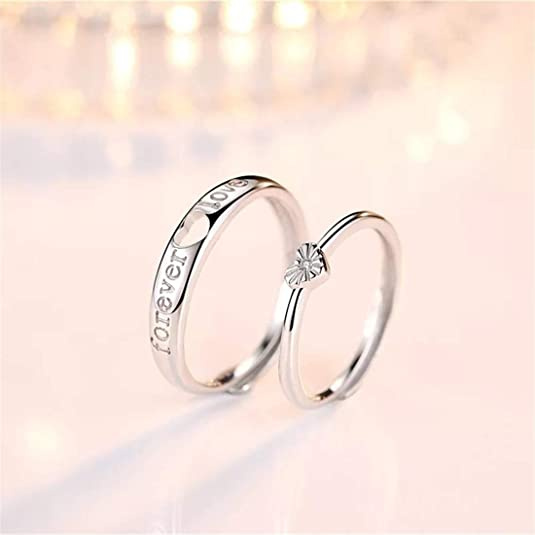 b5596edebe Buy Blue Shine White Rhinestone Adjustable Heart Shape with Forever Word Couple  Ring for Men and Women Online at Low Prices in India | Amazon Jewellery ...