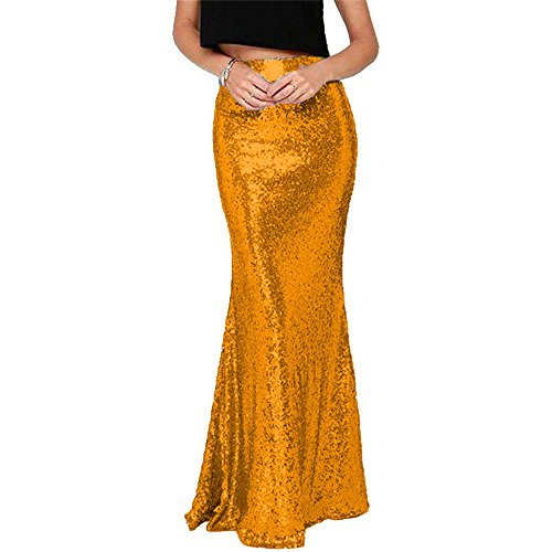 BanZhang Women's High Waist Sequins Long Mermaid Skirt Floor Length Party Formal B120 Orange L