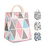 HOMESPON Reusable Lunch Bags Printed Canvas Fabric with Insulated Waterproof Aluminum Foil, Lunch Box for Women, Kids, Students (Triangle Pattern-PinkBlueGrey)