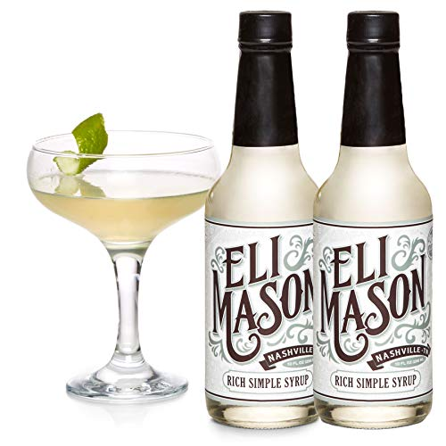 Eli Mason Rich Simple Syrup - All-natural Cocktail Mixer & Beverage Sweetener - Uses Real Cane Sugar & Proprietary Blend Of Cocktail Bitters - Made In USA, Small Batch Cocktail - 10 Cocktail Ounce
