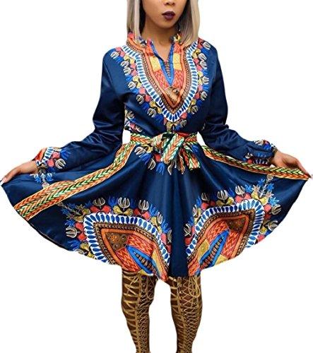 Jaycargogo Femmes À Long Col Rond Imprimé Africain Traditionnel Manches Dashiki Une Ligne Bleue Robe