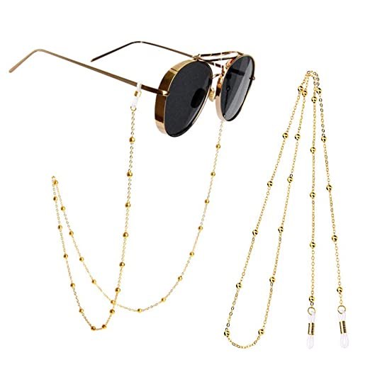 50b61f9c6a2 Glasses Chains 2 Pieces Metal Eyeglasses Chain Holders Spectacles Sunglass  Cord Chains Strap Bead Chain Lanyard