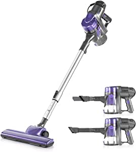 Devanti 450W 2 in 1 Electric Corded Stick Vacuum Cleaner Ultra Lightweight Portable Handheld Handstick Vac Bagless Upright Detachable Cyclone Suction Carpet Hard Floor Cleaning with Washable Filter Purple/Silver