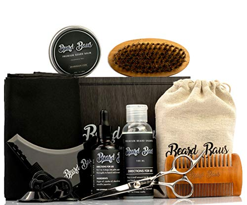 Beard Grooming Kit for Men with Brush and Comb, Unscented Beard Oil, -