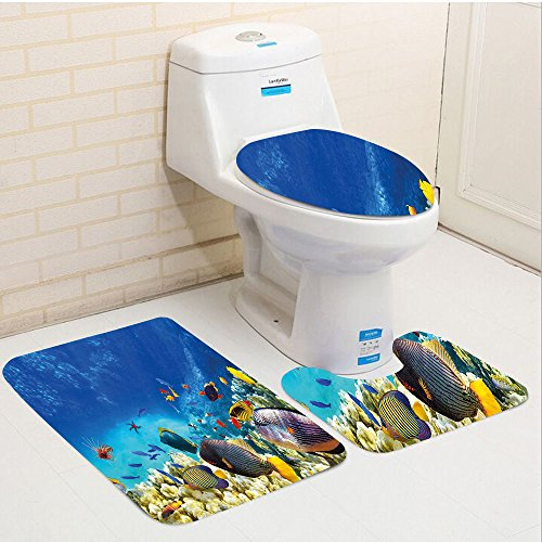 Keshia Dwete three-piece toilet seat pad customOcean Fairy Underwater with Fish and Source of Oxygen Coral Aquatic Liquid Culture Scenery Multi