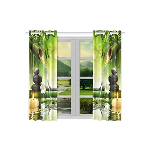 your-fantasia Japanese Bamboo Fountain Spa Stones Flow Water Window Curtain Kitchen Curtain Two Pieces 26 x 39 inches by your-fantasia (Image #1)