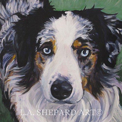 (An Australian Shepherd dog art portrait print of an LA Shepard painting)