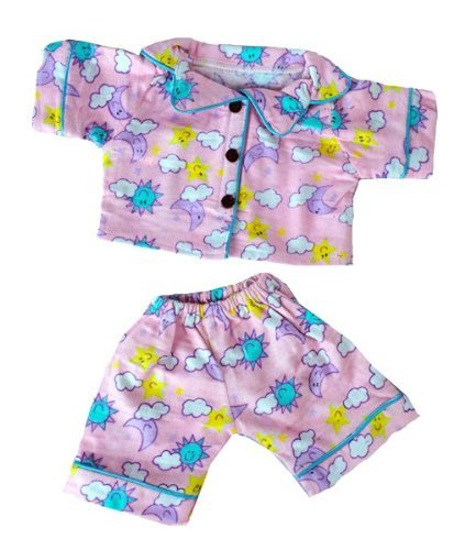 Stuffems Toy Shop Sunny Days Pink PJ's Outfit for 14-Inch-to-18-Inch Teddy Bears Teddy Mountain
