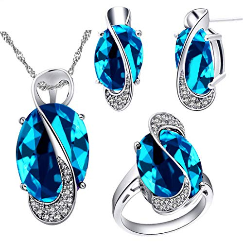 Uloveido Female Large Oval Light Blue Crystal Necklace Charm Choker Necklace Post Stud Earrings Infinity Rings Bridesmaid Jewelry Set for Women (Light Blue, Size 7) - Large Blue Crystal