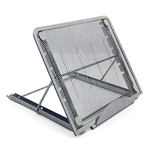 PrettyWit Laptop Riser Stand Ventilated Adjustable Desk Tablet PC for Pad Phone Steel Mesh Stand Diamond Painting Light Box Pad Holder, 9.5 x 7.5 x 0.5 Inches, Silver Gray