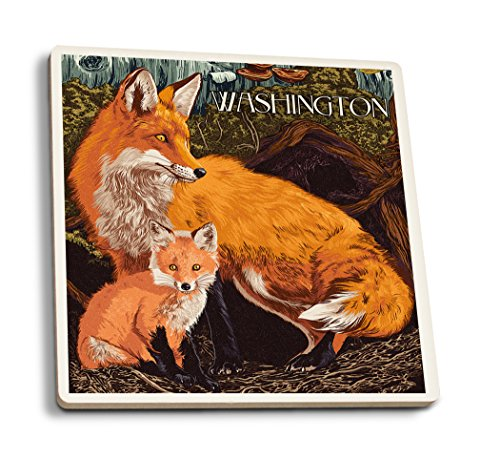(Washington - Fox and Kit - Letterpress (Set of 4 Ceramic Coasters - Cork-Backed, Absorbent))