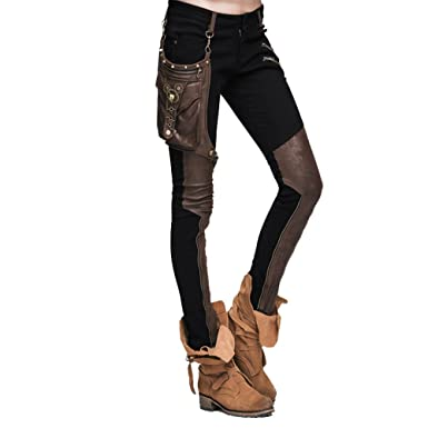 8b76e298dc Women's Autumn Winter Casual Pants Steampunk Gothic Patchwork Skinny ...