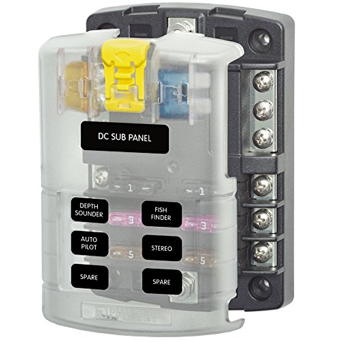 Blue Sea Systems 6 Circuit Blade Fuse Block With Negative Bus 100 Amp Max Per Block 30 Per Circuit