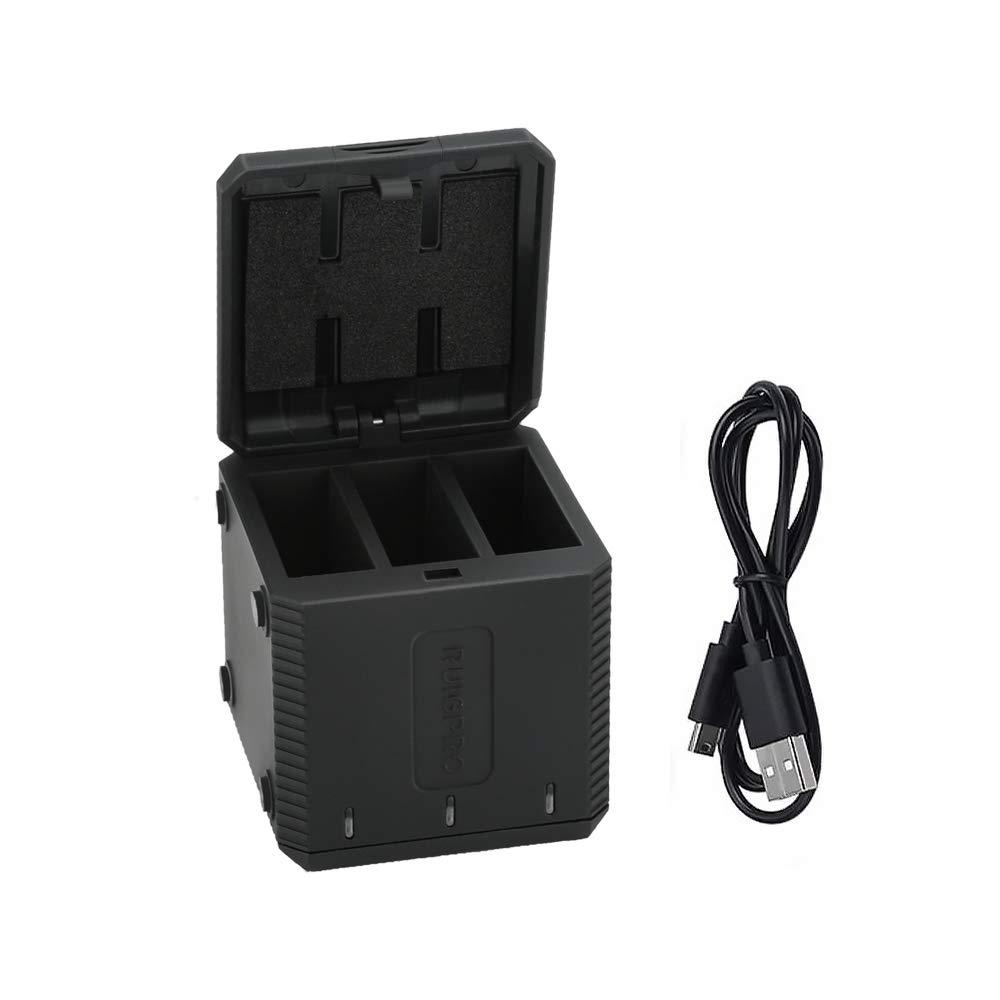 Cargador USB de 3 Canales Intbase para baterías GoPro Hero 5/6/7, Cargador portátil de 3 vías, Traje de Caja de Almacenamiento de batería de Triple Canal, con Cable USB Tipo C: Amazon.es: Electrónica