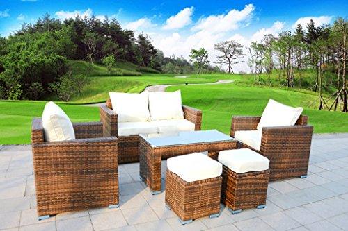 6 Piece Outdoor PE Rattan Wicker Patio Furniture Sectional Sofa Set (Cream White)
