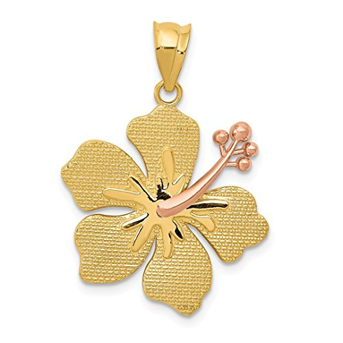 14k Two Tone Yellow Gold Yellorose Hibiscus Pendant Charm Necklace Flower Gardening Fine Jewelry For Women Gift Set (Two Tone Flower Lei)