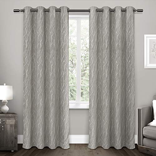 Exclusive Home Curtains Forest Hill Woven Window Curtain Panel Pair with Grommet Top, 52x84, Ash Grey, 2 Piece