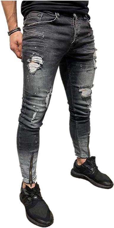 Chickwin Pantalones Vaqueros Hombre Rotos Skinny Slim Fit Insignia Largos De Mezclilla De Cintura Baja De Pitillo Deportivos Elastico Cremallera Rota Jeans De Bolsillo Amazon Es Ropa Y Accesorios