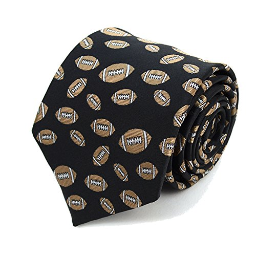 Football Mens Tie - Men's Game Day Football Footballs Repeat Sports Necktie Tie (Black)
