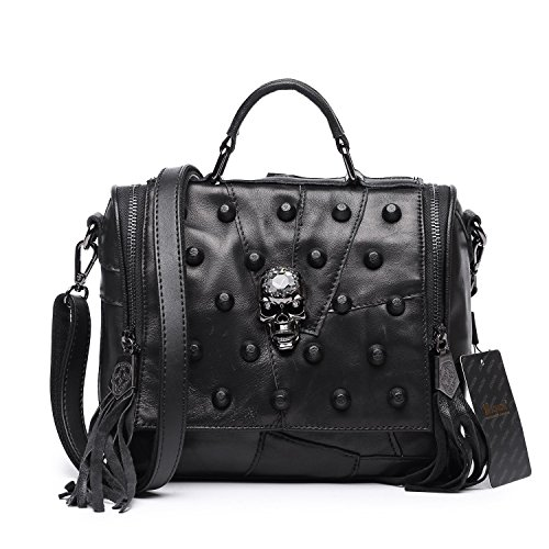 Jonon Women's Genuine Leather Sheepskin Studded Skull Shoulder Bag Crossbody (Sheepskin Womens Shoulder Bag)