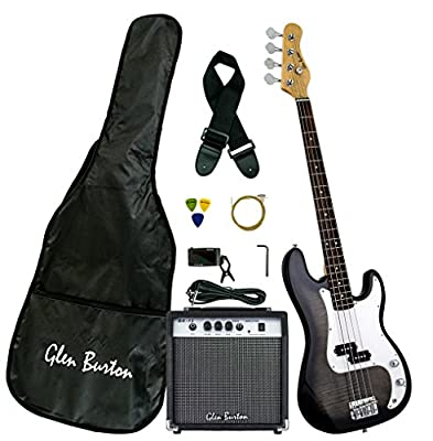 Glen Burton GE101BCO-BKB Stratocaster-Style Electric Guitar Combo with Accessories and Amplifier, Black