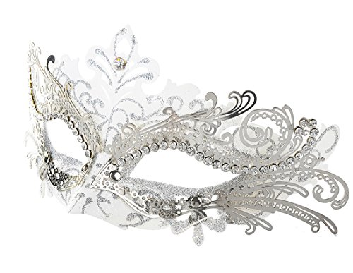[Coxeer Laser Cut Metal Lady Masquerade Halloween Mardi Gras Party Mask (White & Silver)] (Masquerade Masks Metal)