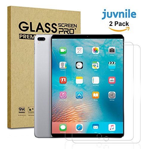 Juvnile iPad Pro (10.5'') 9H Ballistic Tempered Glass Screen Protecor for Apple iPad Pro 10.5-inch l with Retina Display/Apple Pencil Compatible [2 Pack] by Juvnile