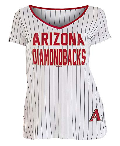 - New Era Arizona Diamondbacks Women's Pinstripe Classic V-Neck T-Shirt X-Large