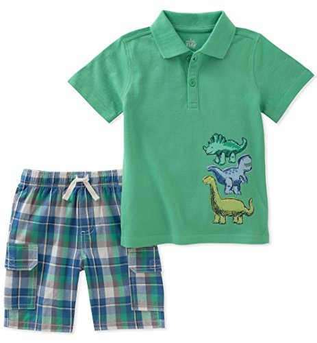 - Kids Headquarters Baby Boys 2 Pieces Polo Shorts Set, Green, 18M
