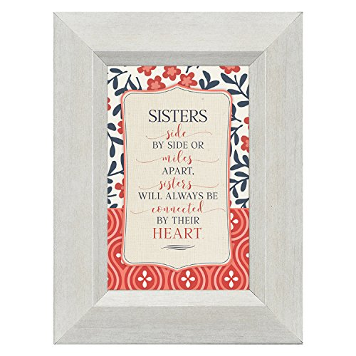 Sisters Connected by Their Heart 4.5 x 6 Inch Framed Easel Back Sign Plaque