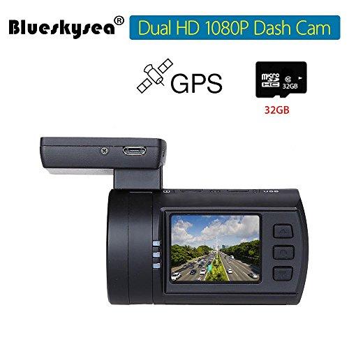 Blueskysea Mini 0906 GPS Dual Dash Cam Car Camera (Mini 0906+32GB TF Card)