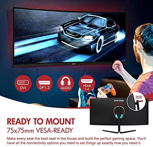 VIOTEK GNV34CB 34-Inch Ultrawide Curved Gaming Monitor | 1080P 100Hz 21:9 | Ultra-Bright VA Panel w/Dynamic Color + LooseSync | HDMI DVI DP 3.5mm | Deep 1500R Curvature (VESA)