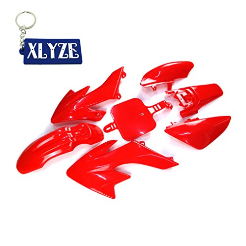 XLYZE Red-Group Motorctcly Plastic Fender Body Work Fairing Kit For SDG SSR Honda Piranha Chinese CRF50 XR50 50cc 70cc 90cc 110cc 125cc 140cc 150cc 160cc Pit Dirt Bike (Fairing Body Plastic)